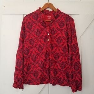 Lands' End   red pima cotton blend printed top